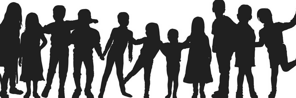 Silhouette of a group of multiage kids | Sparkhouse Blog